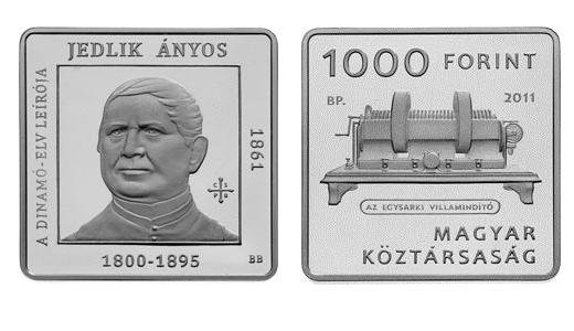 Jedlik Ányos 1000 forintos címletű kupronikkel emlékérme - 2011