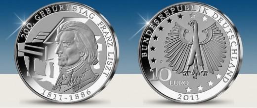 """""""200 éve született Liszt Ferenc"""" - 10 euro ezüst emlékérme"""