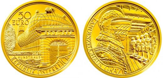 200 éves a graz-i Joanneum - arany 50 eurós emlékérme