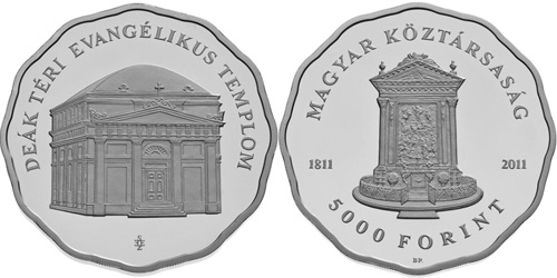 The Evangelical Church on Deák Square - silver collector coin