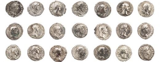 Az Antoninusok uralkodásának idejéből származó huszonegy római ezüst denárius
