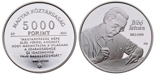 Silver collector coin 'István Bibó' with a face value of HUF 5,000