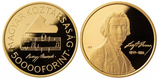 Franz Liszt hungarian gold commemorative coin