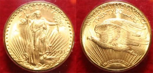 az 1933-ban vert Double Eagle húszdolláros érme