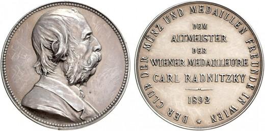 Karl Radnitzky ezüst érme (fotó: coinarchives.com)