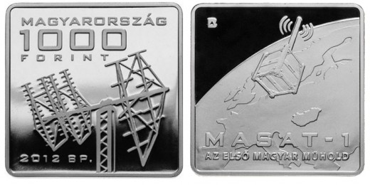 """MASAT-1"" the first Hungarian satellite - cupro-nickel collector coin"