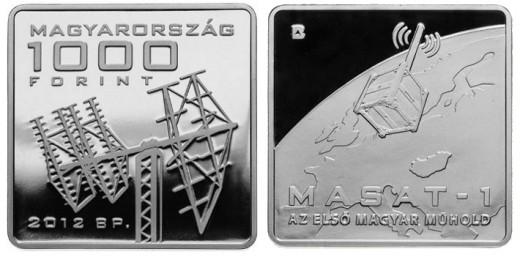 """MASAT-1"" 1000 forintos címletű kupronikkel emlékérme"