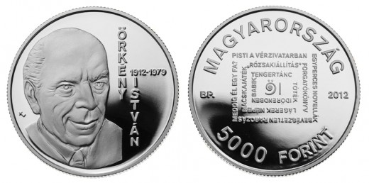 Silver collector coin with a face value of HUF 5,000 to celebrate the 100th anniversary of the birth of István Örkény
