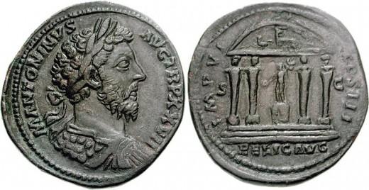 Marcus Aurelius. AD 161-180. Æ Sestertius (forrás: cngcoins.com)