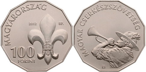 Cupro-nickel collector coin to commemorate the 100th anniversary of the foundation of the Hungarian Scouting Association