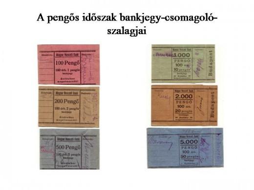 A pengős időszak bankjegy-csomagolószalagjai - Dr. Berta András gyűjteményéből (fotó: deoec.hu)