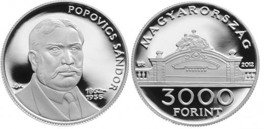 Popovics Sándor 3000 forintos címletű ezüst emlékérme