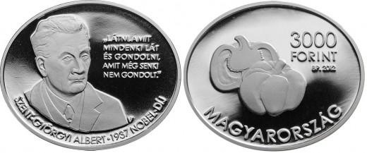 Szent-Györgyi Albert 3000 forint címletű ezüst érme