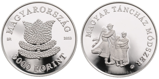 Silver collector coin 'Hungarian Folk Dance House Method' with a face value of HUF 3,000