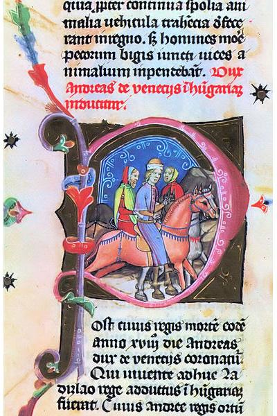 András herceget Magyarországra hozzák, iniciálé a Képes Krónikából