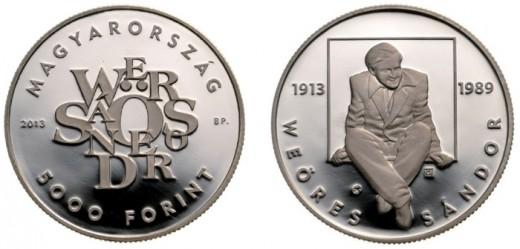 """""""Weöres Sándor születésének 100. évfordulója"""" ötezer forintos címletű ezüst emlékérme"""