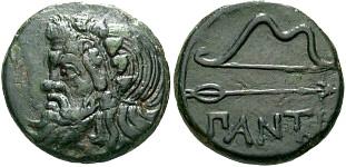 3. ábra: Szkíta fejet, íjat és nyilat ábrázoló érme (Boszporusz, Kr. e. 340–325)