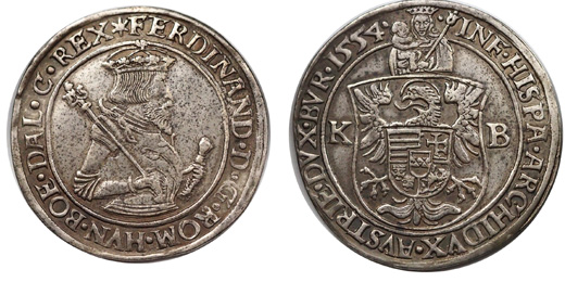 I.Ferdinánd 1/2 tallér 1554